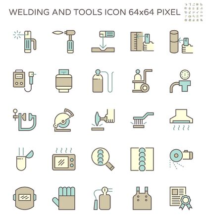 Welding work and tools such as welding torch, gas cutting tool and other vector icon set design, 64x64 perfect pixel and editable stroke.