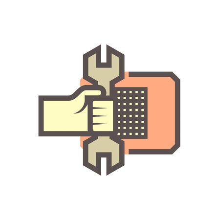 Air conditioner  service and technician vector icon design on white background. Stock Illustratie
