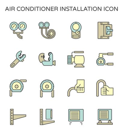 Air conditioner installation parts and tools vector icon set design, editable stroke.