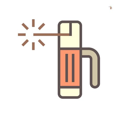 Welding torch and sparkle vector icon design on white background, 64x64 pixel perfect and editable stroke.