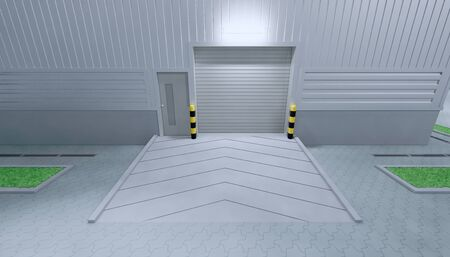 3d rendering of hangar building exterior and shutter door and paver brick floor at night time. Stock Photo