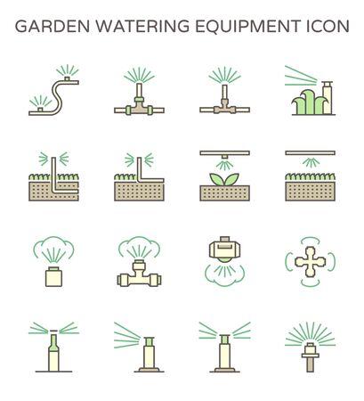 Garden watering equipment and sprinkler icon set for automatic sprinkler system graphic design element, editable stroke.
