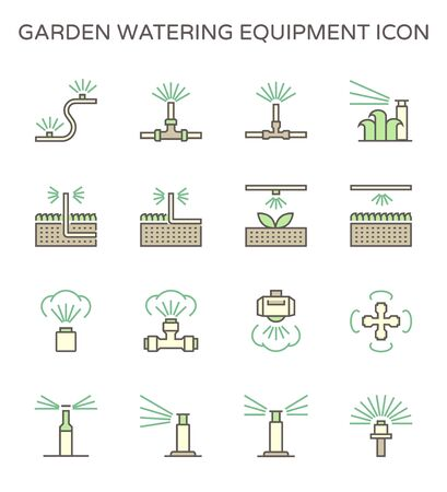 Garden watering equipment and sprinkler icon set for automatic sprinkler system graphic design element, editable stroke.