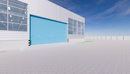 3d rendering of hangar building exterior and shutter door and paver brick floor.