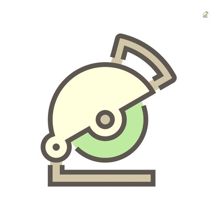 Steel cutting disc vector icon design on white background, 64x64 pixel perfect and editable stroke.