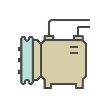 Air compressor and part vector icon design, editable stroke.