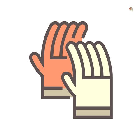 Safety glove for hot work vector icon design, 64x64 perfect pixel and editable stroke.