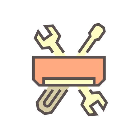 Air conditioner service and technician vector icon design, editable stroke. Vettoriali