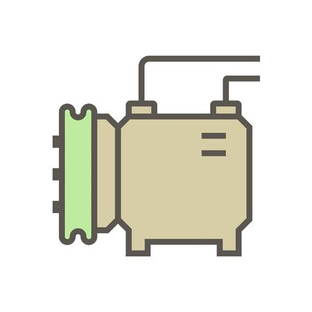 Air compressor and part vector icon design, editable stroke.