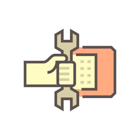 Air conditioner service and technician vector icon design, editable stroke. Stock Illustratie