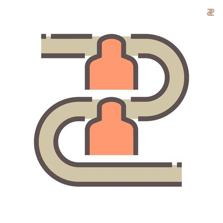 Worker woring with production line in production vector icon design on white background.