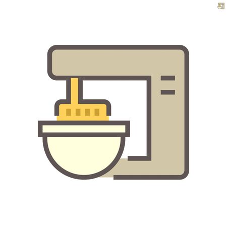 Dough kneading machine in food processing vector icon design on white background, 64x64 pixel perfect and editable stroke.