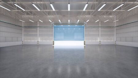 3d rendering of empty hangar and concrete floor and shutter door, clean and new condition.