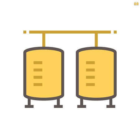 Tank of raw material in food processing production vector icon design on white background, 64x64 pixel perfect and editable stroke.