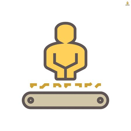 Worker working with product on production line, vector icon design on white background, 64x64 pixel perfect and editable stroke.