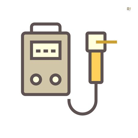 Welding cabinet and welding torch vector icon design on white background, 64x64 pixel perfect and editable stroke.
