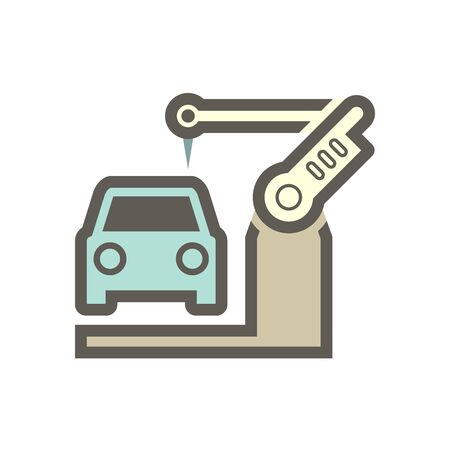 Robot working with car body in automotive industry vector icon design on white bÍackground.