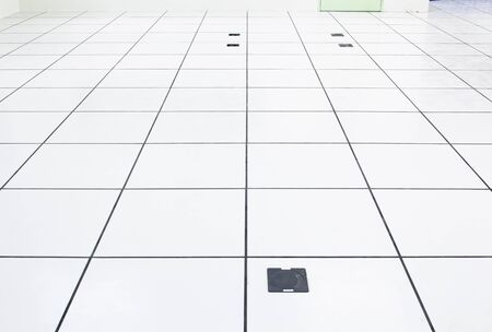 Raise floor and electrical socket with grid line in perspective view.