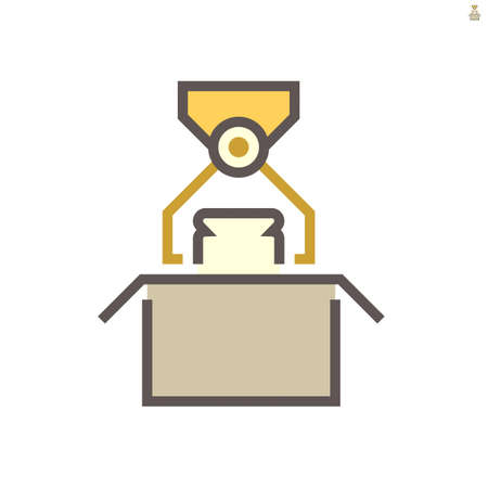 Robot hand put product into box packaging in food processing production vector icon design on white background, 64x64 pixel perfect and editable stroke.  イラスト・ベクター素材