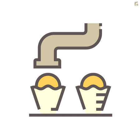 Machine fill ice cream in cone in food processing production vector icon design on white background, 64x64 pixel perfect and editable stroke.  イラスト・ベクター素材