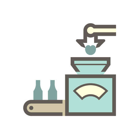 Robot put fruit into machine in fruit processing industry vector icon design on white background. Vettoriali