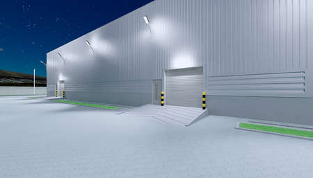 3d rendering of large hangar building and concrete floor and open steel door in perspective view for background, clean and new condition, night time.