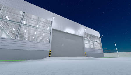 3d rendering of hangar building exterior and shutter door and paver brick floor at night time. Reklamní fotografie