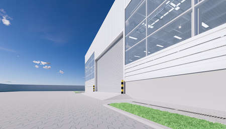3d rendering of hangar building exterior and shutter door and paver brick floor. Reklamní fotografie