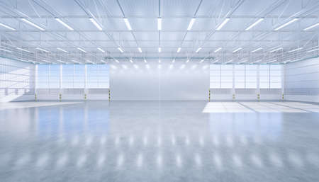 3d rendering of large hangar building and concrete floor and open shutter door in perspective view for background, clean and new condition. Banque d'images