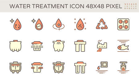 Water treatment and septic tank vector icon set design, 48x48 pixel perfect and editable stroke.