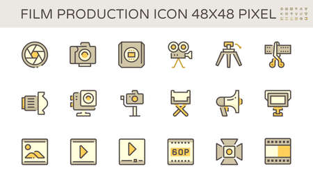 Film and film production vector icon set design, 48X48 pixel perfect and editable stroke.