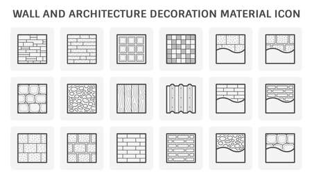 Wall and architectural decoration material vector icon set design.