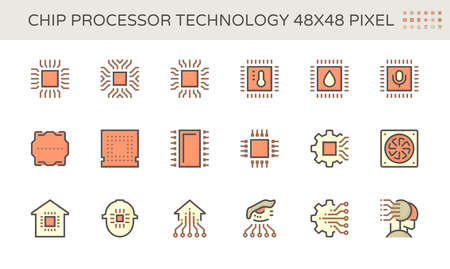 Computer chip processor and technology vector icon set, 48X48 pixel perfect and editable stroke.