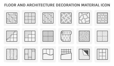 Floor and architecture decoration material vector icon set design.