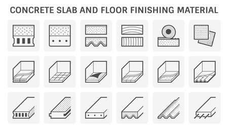 Concrete slab and floor finishing material vector icon set design on white background.