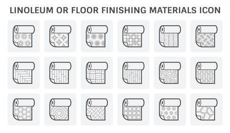 Linoleum or architectural decoration material vector icon set design. 向量圖像