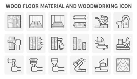 Wood floor material and woodworking vector icon set design.