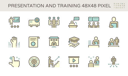 Presentation and training vector icon set design, 48X48 pixel perfect and editable stroke. Vectores