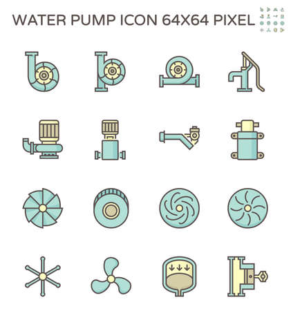 Water pump and steel blade vector icon set for water distribution work, 64x64 pixel perfect and editable stroke.