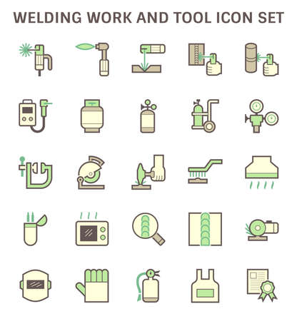 Welding work and tool such as welding torch, gas cutting tool, welding cabinet and other vector icon set design.