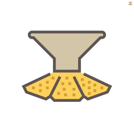 Pasta production line in food processing industry vector icon design on white background, 64x64 pixel perfect and editable stroke.