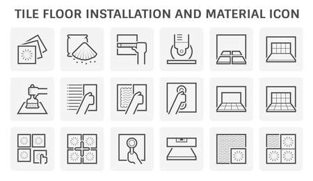 Tile floor installation and material vector icon set design. 向量圖像