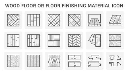Wood floor or floor finishing and material vector icon set design.