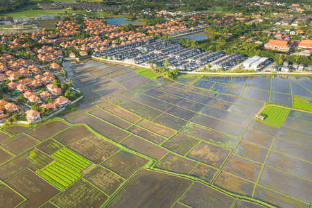 Aerial view of land and housing estate in Chiang Mai province of Thailand. Stockfoto