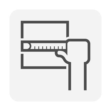 Tile floor installation and measurement vector icon design.