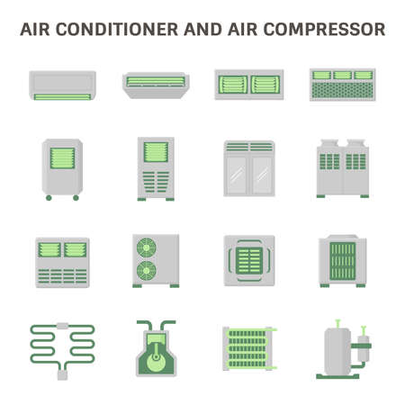 Air conditioner and air compressor part of hvac system vector icon set design.