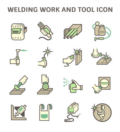 Welding work and welding tools such as welding torch, gas cutting tool vector icon set design.