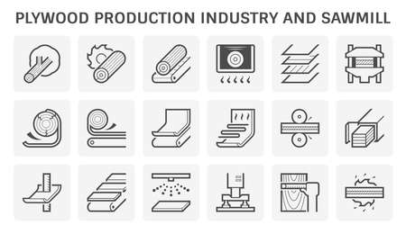 Plywood production industry and sawmill vector icon set design.