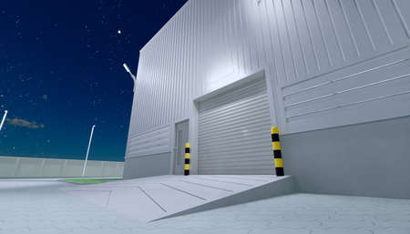 3d rendering of hangar building exterior and shutter door and paver brick floor at night time. Stock fotó