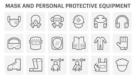 Mask and safety equipment or personal protective equipment vector icon design.